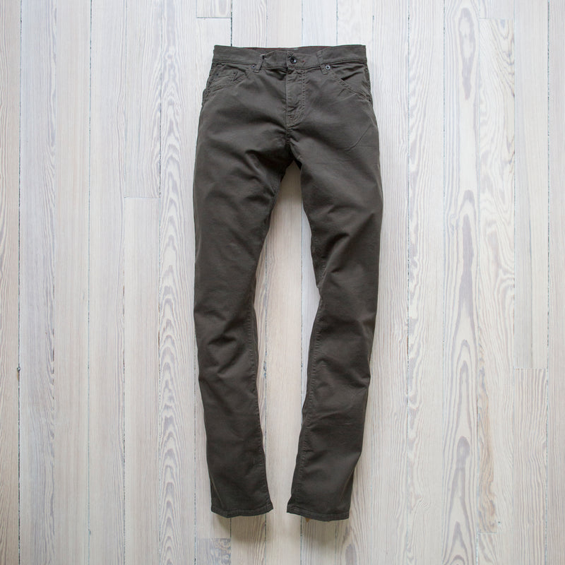 angle: rifle green twill  A Raleigh Denim Workshop Jones pants in rifle green twill