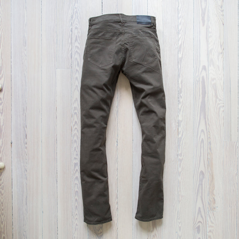 angle hover: rifle green twill  A Raleigh Denim Workshop Jones pants in rifle green twill
