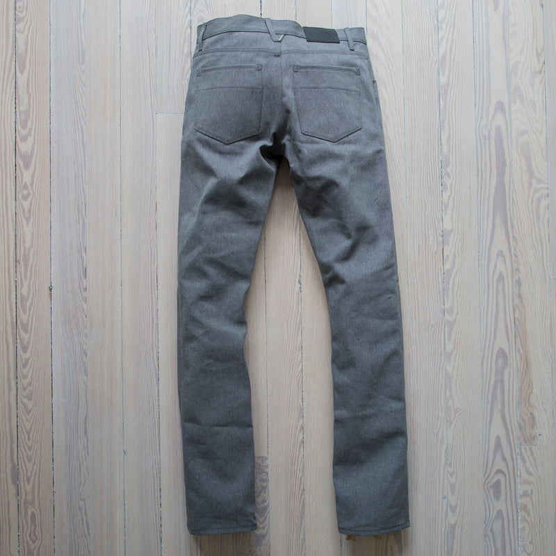angle hover: greige selvage  A Raleigh Denim Workshop Jones pants in Greige Selvage