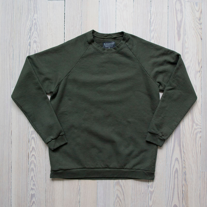 angle: dark moss A Raleigh Denim Workshop sweatshirt in dark moss