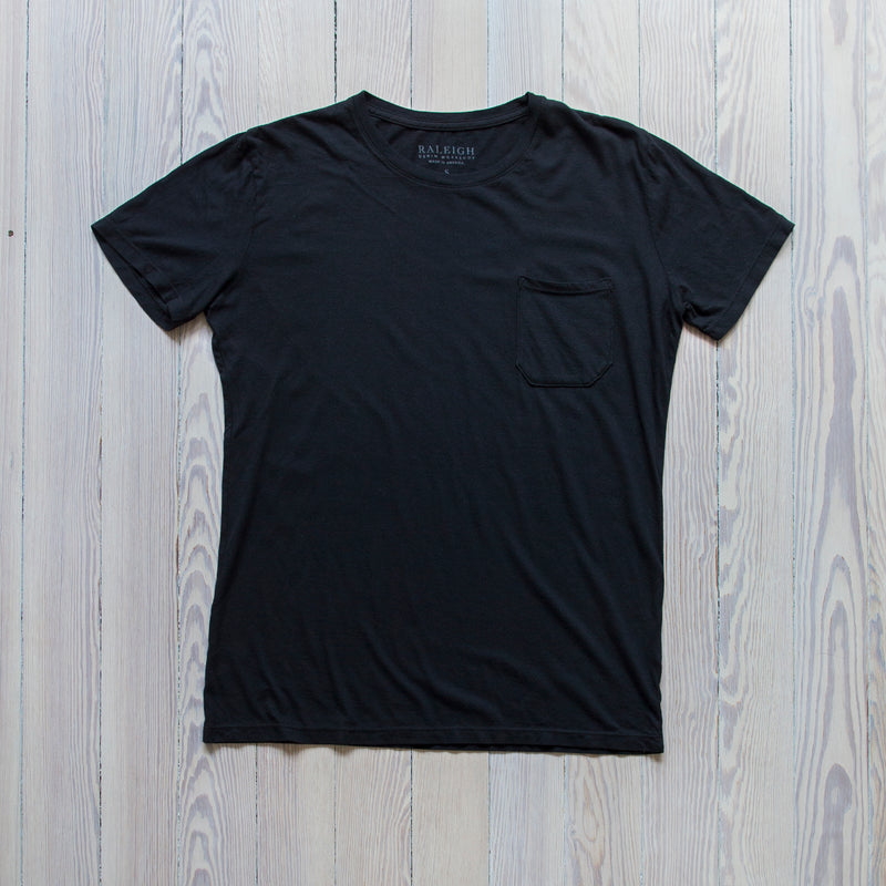 angle hover: black  Raleigh Denim Workshop a cotton pocket crew neck tee in black