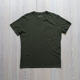 angle hover: dark moss  Raleigh Denim Workshop a cotton pocket crew neck tee in dark moss