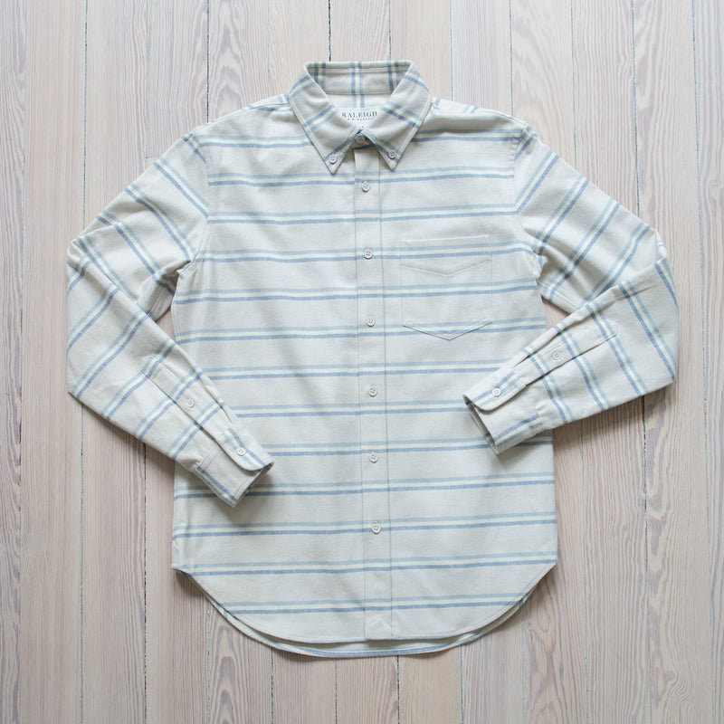 angle: winter stripe  Raleigh Denim Workshop Patch Pocket Button Up in winter stripe