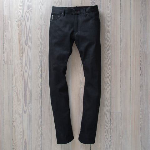 angle: black | Raleigh Denim Workshop Black Selvage Raw pants in Martin Fit