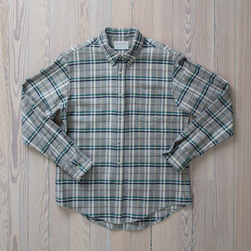angle: funfetti green plaid  Raleigh Denim Workshop button up shirt in funfetti plaid