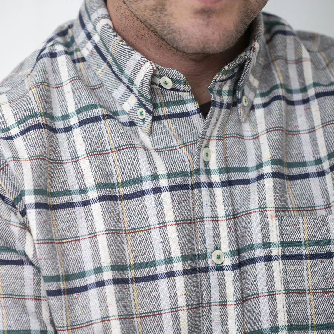 angle hover: funfetti green plaid  Raleigh Denim Workshop button up shirt in funfetti plaid