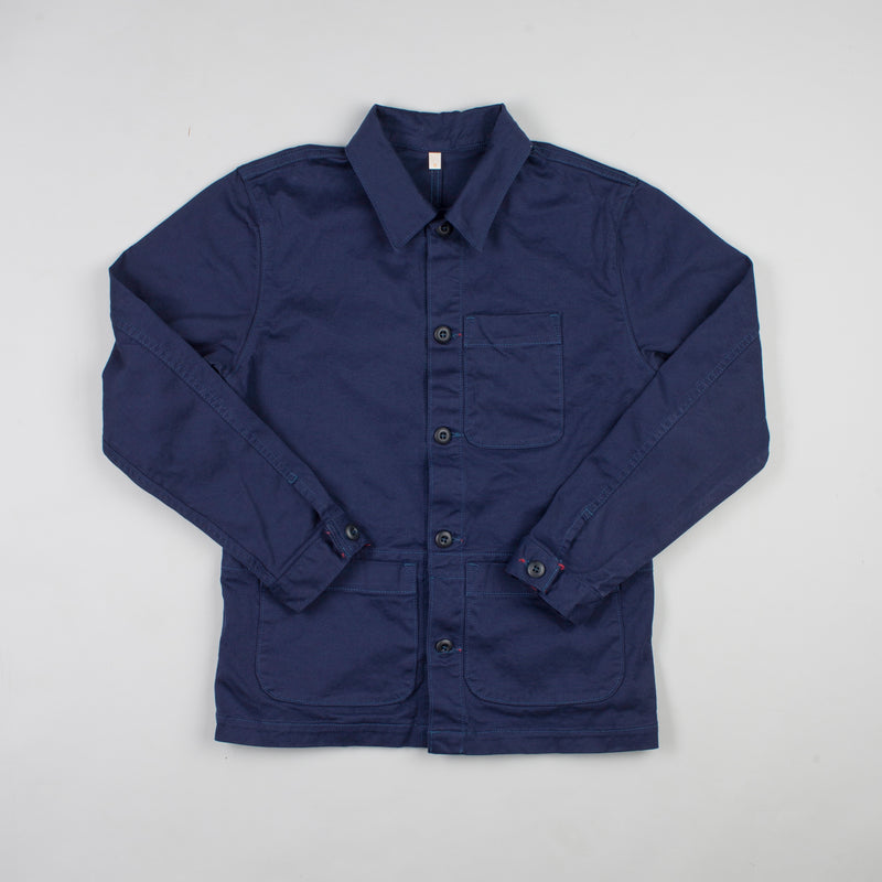 angle hover: navy polo  Raleigh Denim Workshop chore coat in navy, front flat view