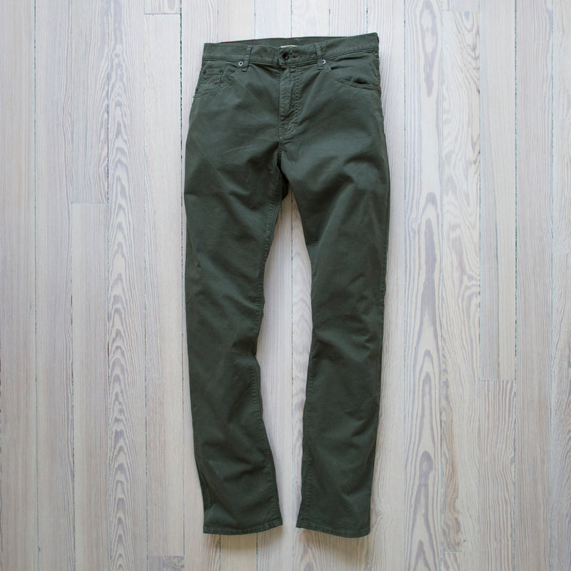 angle: dark moss twill  A Raleigh Denim Workshop Jones pants in dark moss twill