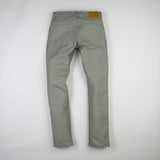 angle hover: lichen  Raleigh Denim Workshop Jones thin fit in green or lichen, back view