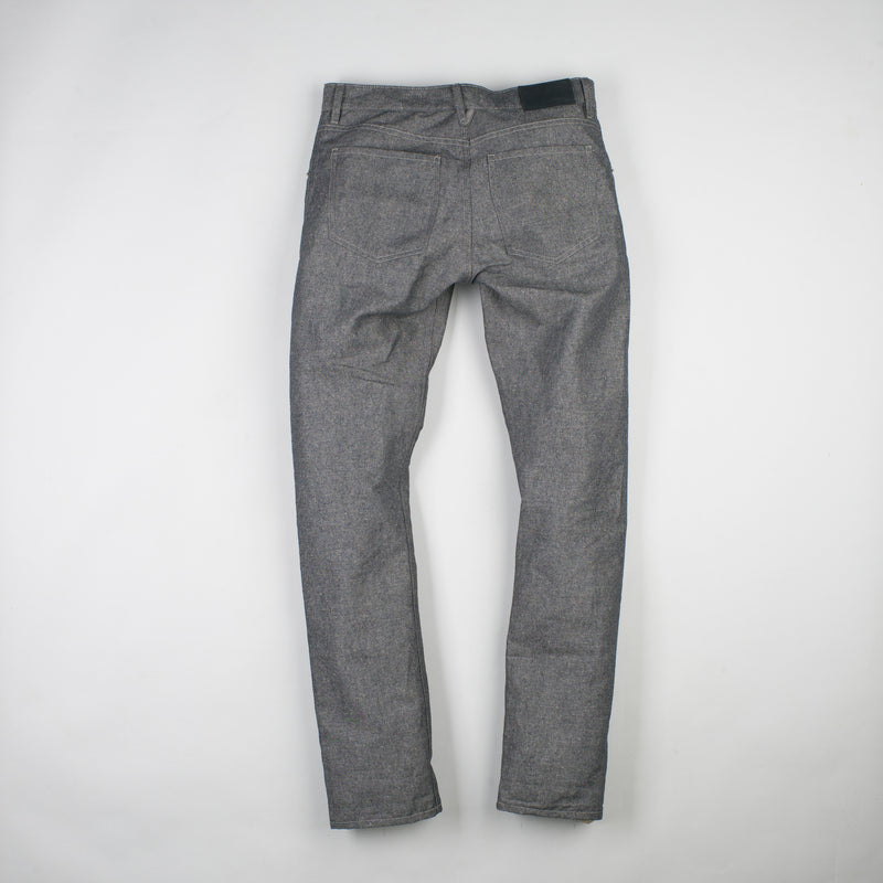 angle hover: basalt  Raleigh Denim Workshop Jones thin fit in gray (basalt), back view