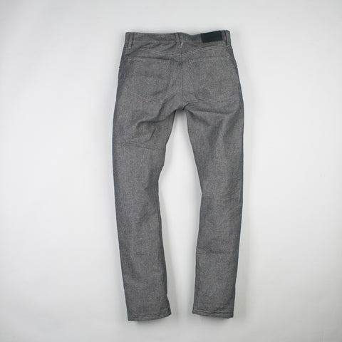angle: basalt | Raleigh Denim Workshop Jones thin fit in gray (basalt), front view