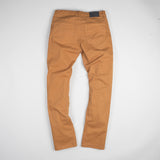 angle: chestnut  Raleigh Denim Workshop Jones thin fit brushed twill pants, in chestnut orange, flat back