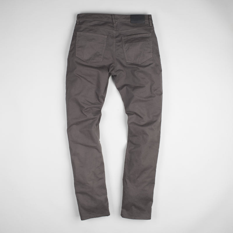 angle: smoke  Raleigh Denim Workshop Jones thin fit brushed twill pants, in smoke gray, flat back