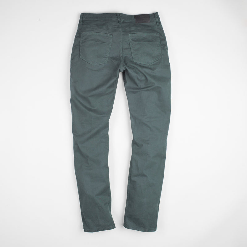 angle: juniper  Raleigh Denim Workshop Jones thin fit brushed twill pants, in juniper green blue, flat back