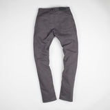 angle: smoke  Raleigh Denim Workshop Martin thin taper fit stretch pants in gray smoke, back