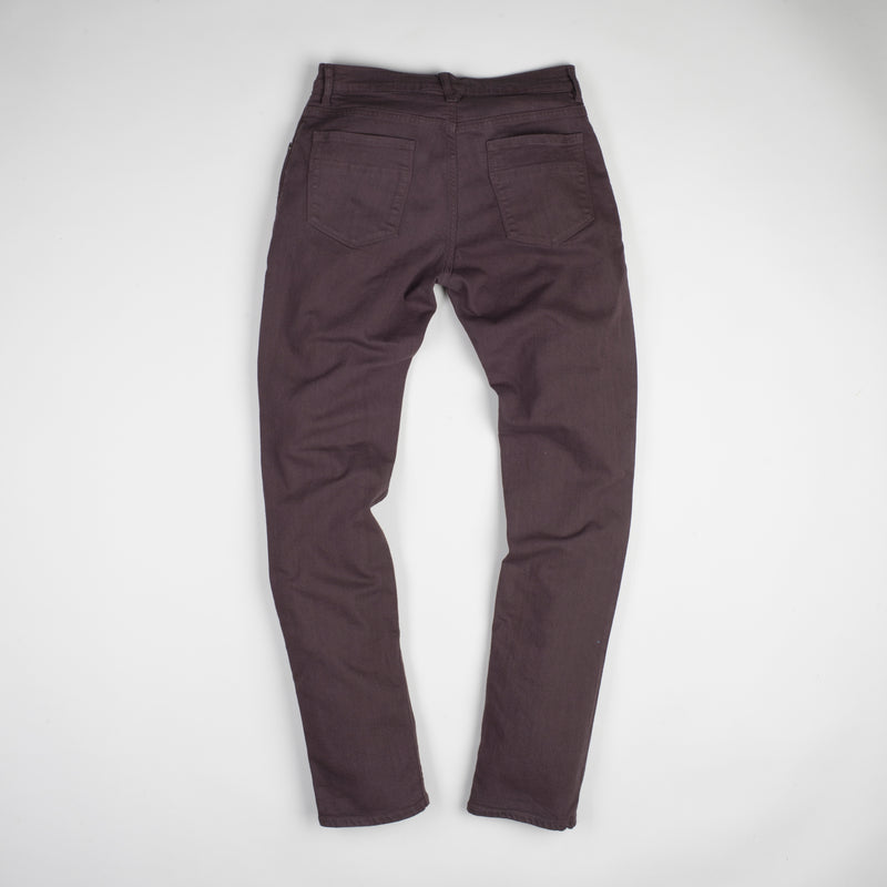 angle: walnut  Raleigh Denim Workshop Martin thin taper fit stretch pants in brown walnut, back
