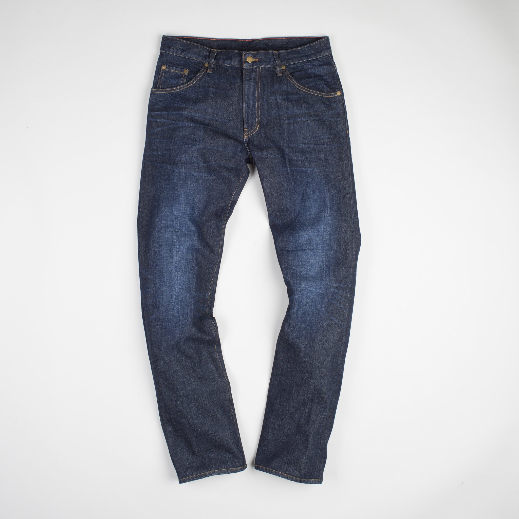 angle: general  Raleigh Denim Workshop Jones thin fit in a general wash, front view