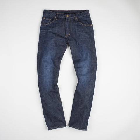 angle: general | Raleigh Denim Workshop Jones thin fit in a general wash, front view