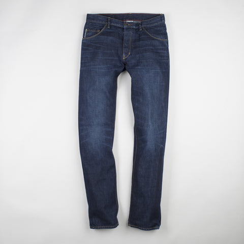 angle: staple | Raleigh Denim Workshop Jones thin fit in a dark wash, front view