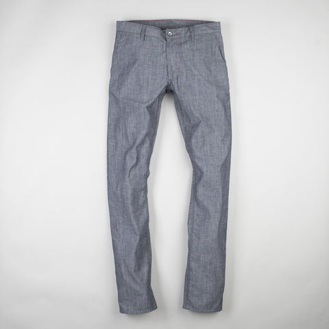 angle: chambray | Raleigh Denim Workshop Jones thin fit trousers in gray, front view