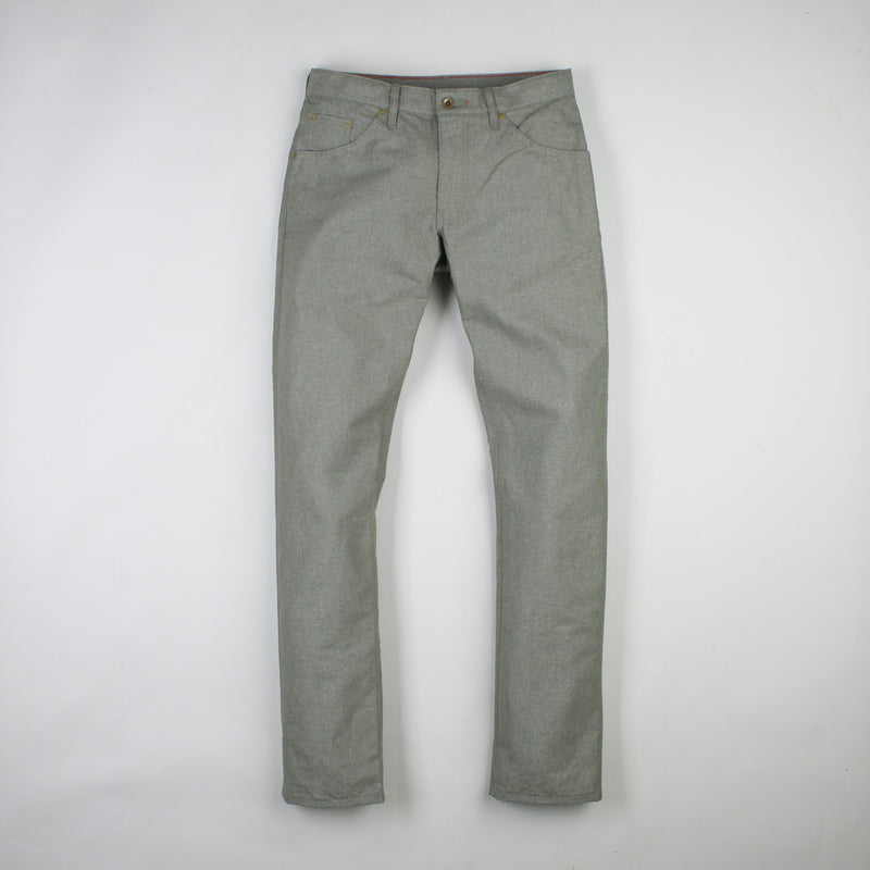 angle: lichen  Raleigh Denim Workshop Jones thin fit in green or lichen, front view