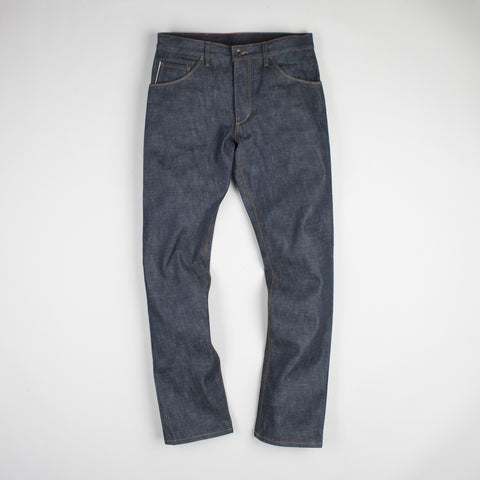 angle: static | Raleigh Denim Workshop Jones thin fit jeans in dark blue, front flat view