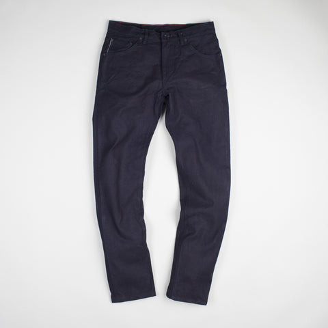angle: deep indigo | Raleigh Denim Workshop Graham work taper fit jeans that are selvage rinse, front view