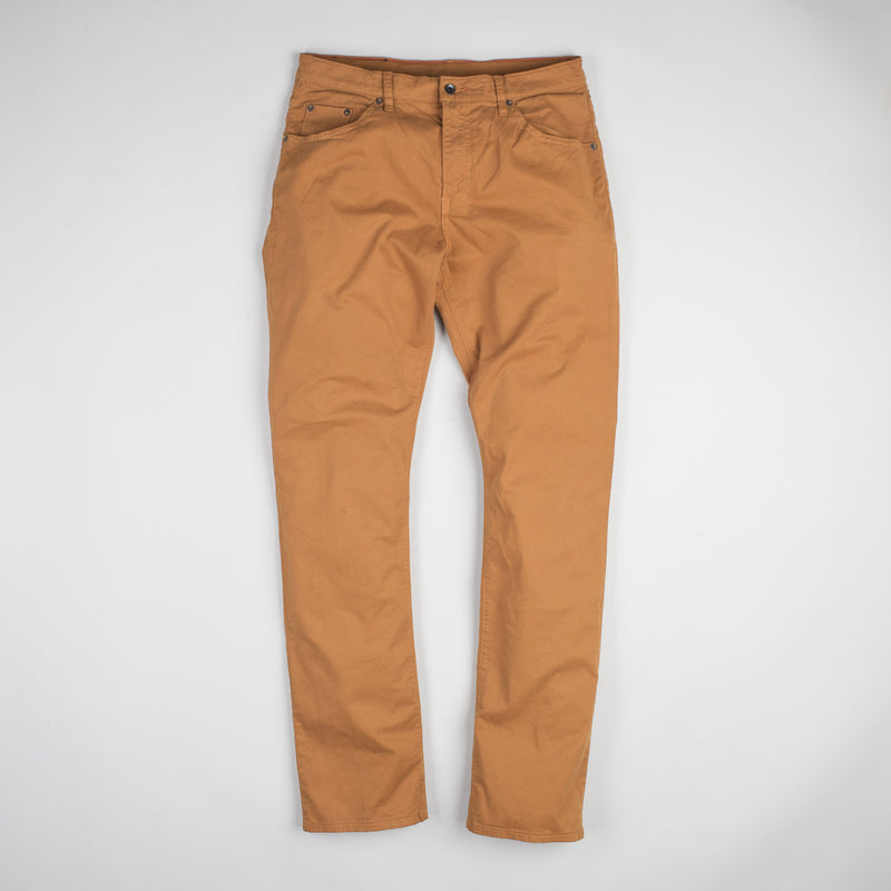 angle: chestnut  Raleigh Denim Workshop Jones thin fit brushed twill pants, in chestnut orange, flat front