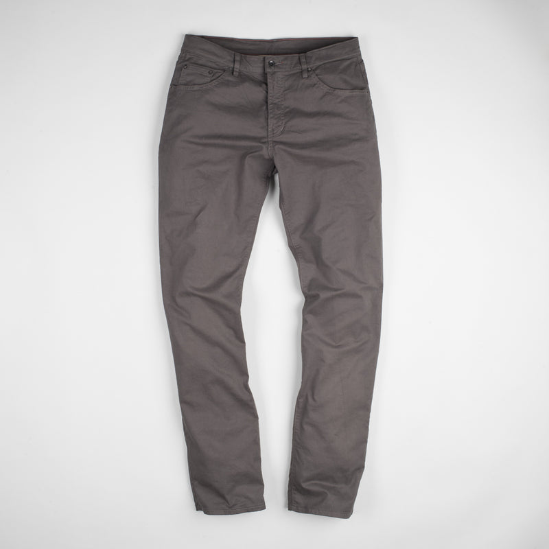 angle: smoke  Raleigh Denim Workshop Jones thin fit brushed twill pants, in smoke gray, flat front