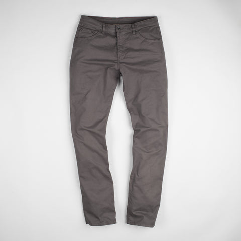 angle: smoke | Raleigh Denim Workshop Jones thin fit brushed twill pants, in smoke gray, flat front
