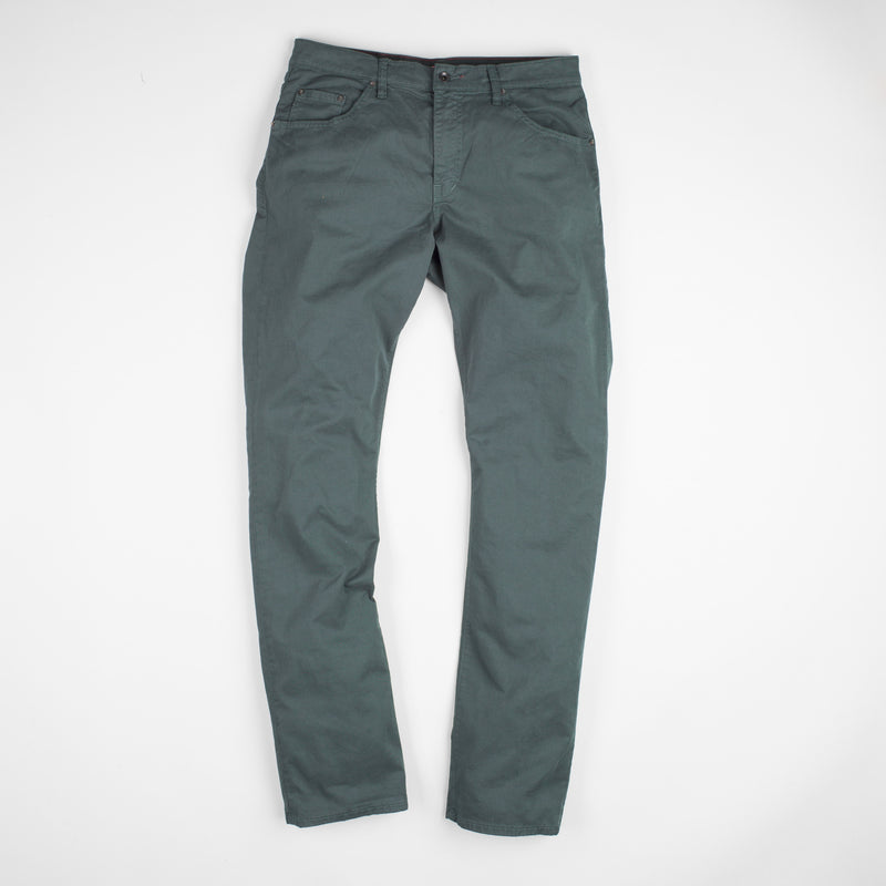 angle: juniper  Raleigh Denim Workshop Jones thin fit brushed twill pants, in juniper green blue, flat front