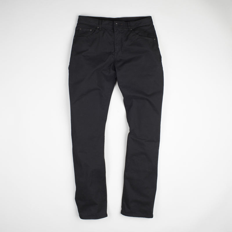 angle: black  Raleigh Denim Workshop Jones thin fit brushed twill pants, in black, flat front