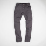 angle: smoke  Raleigh Denim Workshop Martin thin taper fit stretch pants in gray smoke, front