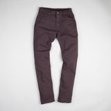 angle: walnut  Raleigh Denim Workshop Martin thin taper fit stretch pants in brown walnut, front