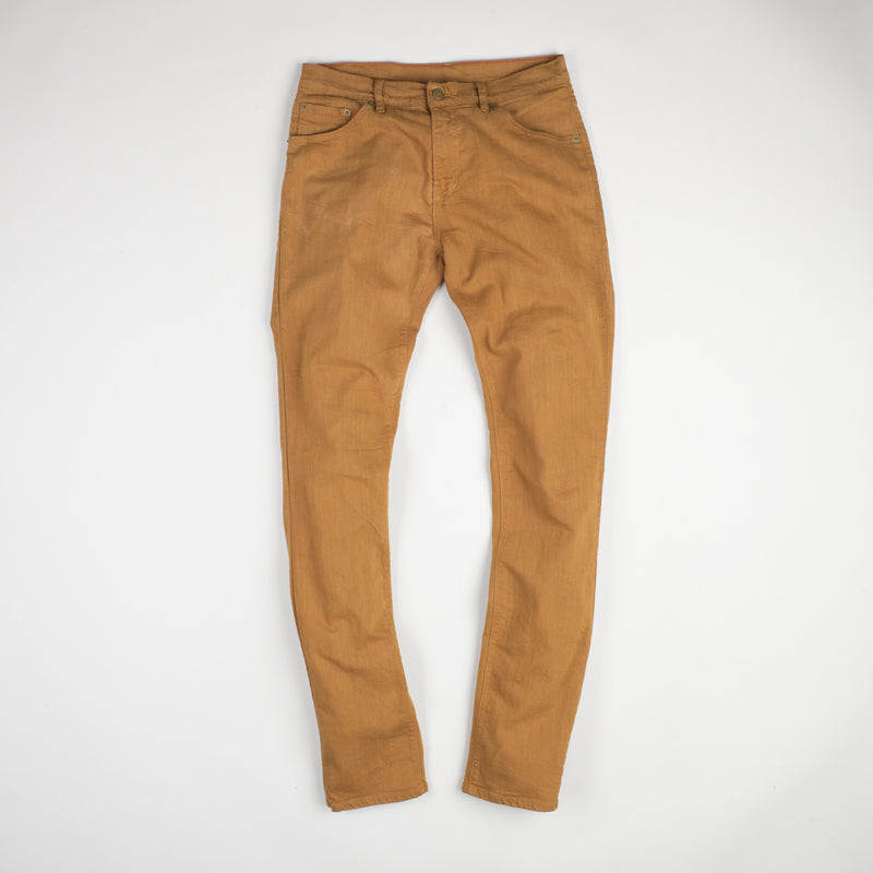 angle: chestnut  Raleigh Denim Workshop Martin thin taper fit stretch pants in orange chestnut, front flat view.