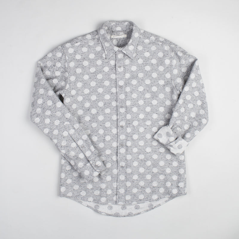 angle: grey heather  Raleigh Denim Workshop Classic Button-up: Slub in grey heather polka dot, front 2.