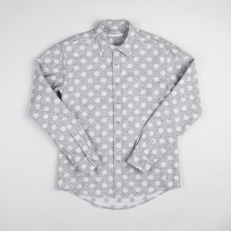 angle: grey heather  Raleigh Denim Workshop Classic Button-up: Slub in grey heather polka dot, front.