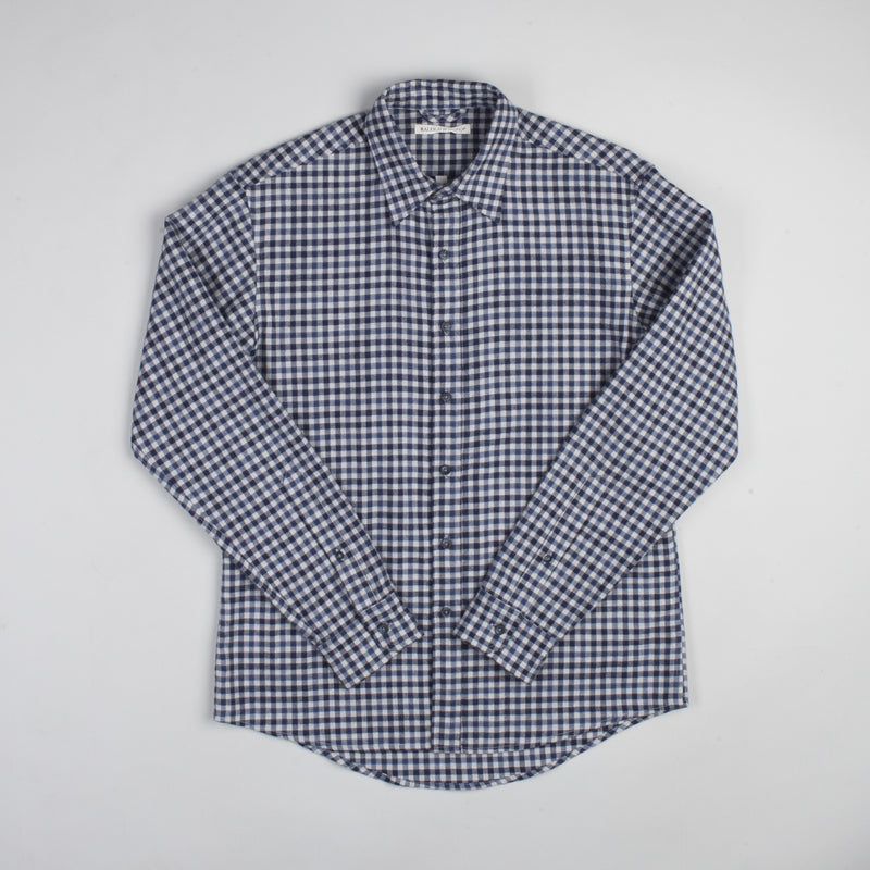 angle hover: blue check  Raleigh Denim Workshop Classic Button-up men's shirt in blue check, front.