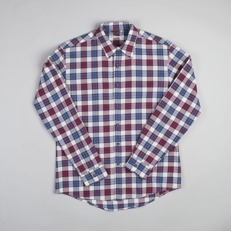 angle hover: jewel plaid  Raleigh Denim Workshop Classic Button-up Men's Shirt in red and blue jewel plaid, front.