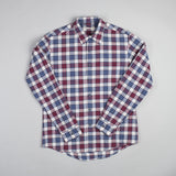 angle: jewel plaid  Raleigh Denim Workshop Classic Button-up Men's Shirt in red and blue jewel plaid, front.