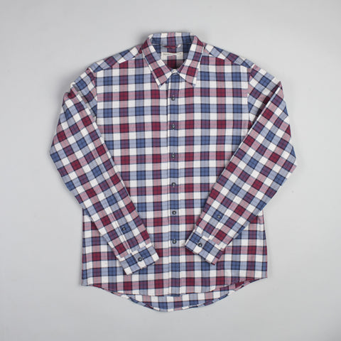 angle: jewel plaid | Raleigh Denim Workshop Classic Button-up Men's Shirt in red and blue jewel plaid, front.