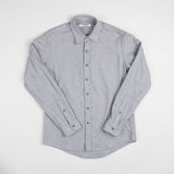angle: grey heather  Raleigh Denim Workshop Classic Button-up: flannel twill in grey heather, front.