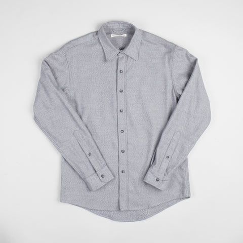 angle: grey heather | Raleigh Denim Workshop Classic Button-up: flannel twill in grey heather, front.