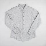 angle hover: grey heather  Raleigh Denim Workshop Classic Button-up: Slub in grey heather chevron pattern, front.