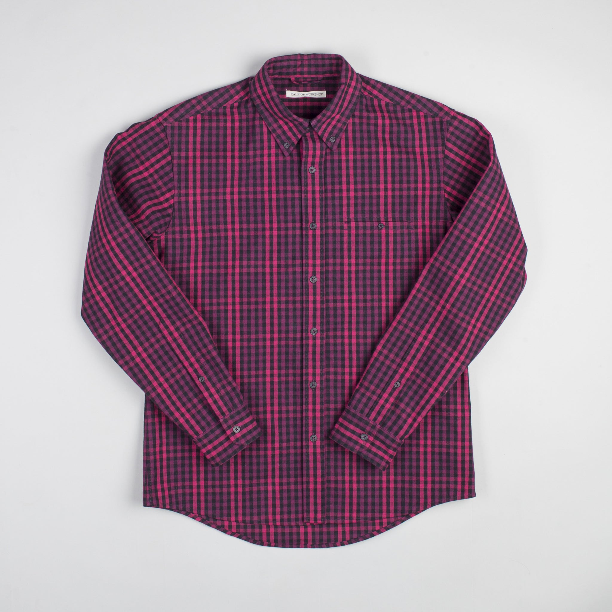 angle hover: hot pink check  Raleigh Denim Workshop Welt-Pocket Button-up men's shirt in red and hot pink check, front.