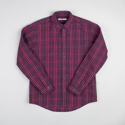 angle: hot pink check | Raleigh Denim Workshop Classic Button-up men's shirt in red and hot pink check, front.