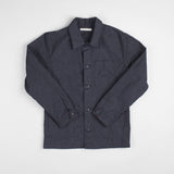 angle: charcoal  Raleigh Denim Workshop men's chore coat in grey, front flat view