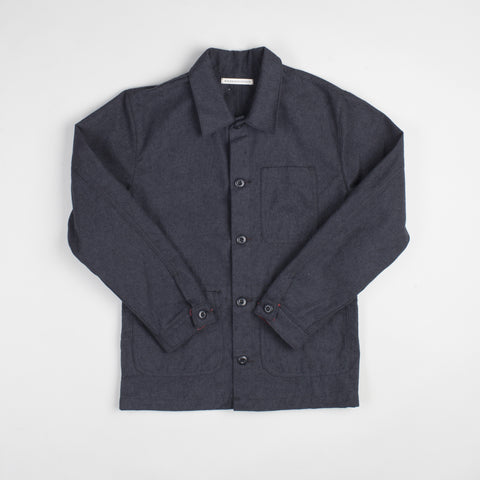 angle: charcoal | Raleigh Denim Workshop men's chore coat in grey, front flat view