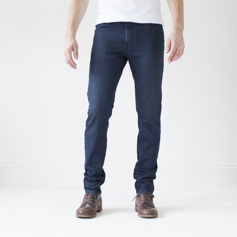 angle: canon | Raleigh Denim Workshop Martin thin taper fit jeans in original wash, front flat view