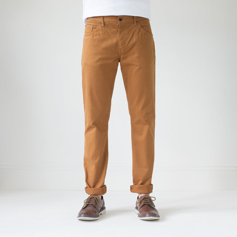 angle hover: chestnut  Raleigh Denim Workshop Jones thin fit brushed twill pants, in chestnut orange, front view